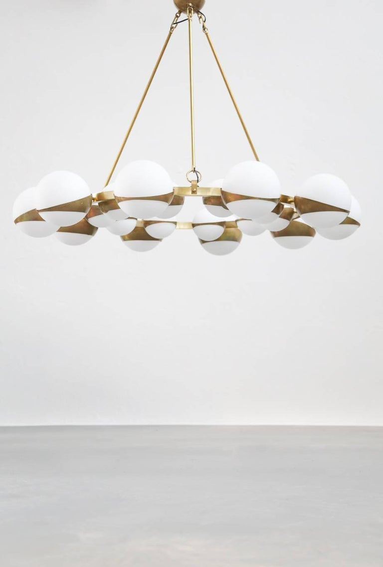 Contemporary Style of Stilnovo Italian Chandelier Opalines Brass Large Sculptural Modernist For Sale