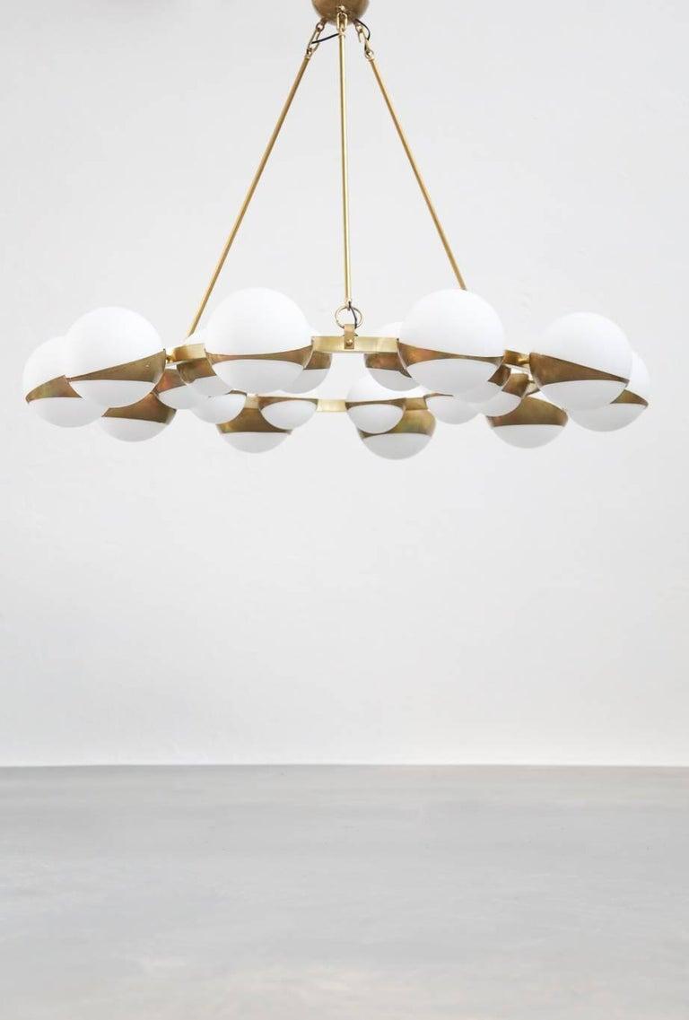 Style of Stilnovo Italian Chandelier Opalines Brass Large Sculptural Modernist 5