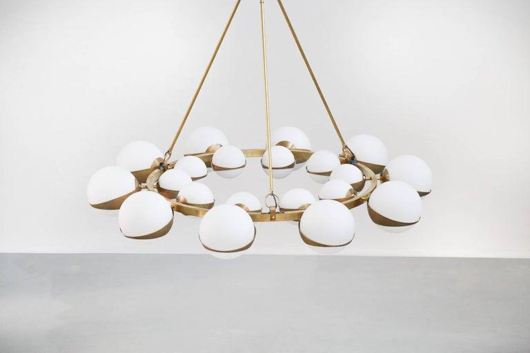 Style of Stilnovo Italian Chandelier Opalines Brass Large Sculptural Modernist For Sale 1