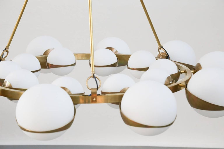 Style of Stilnovo Italian Chandelier Opalines Brass Large Sculptural Modernist For Sale 2