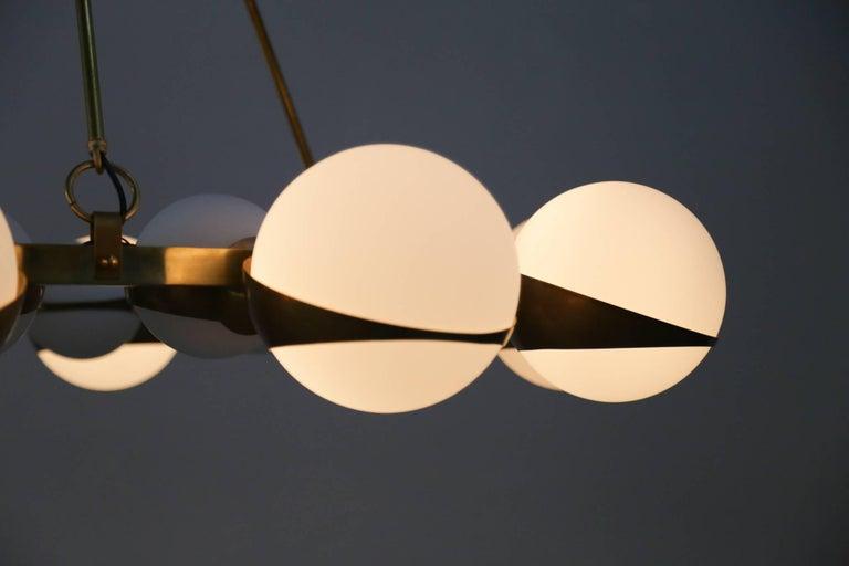 Style of Stilnovo Italian Chandelier Opalines Brass Large Sculptural Modernist For Sale 3
