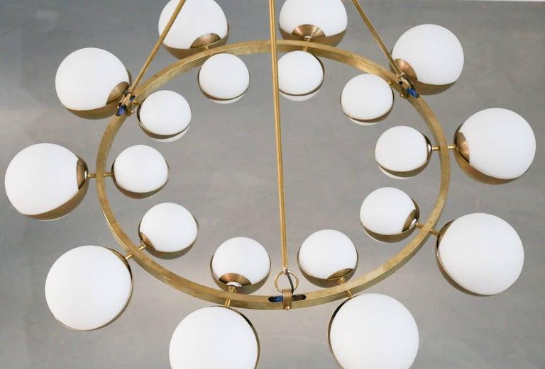 Style of Stilnovo Italian Chandelier Opalines Brass Large Sculptural Modernist For Sale 4