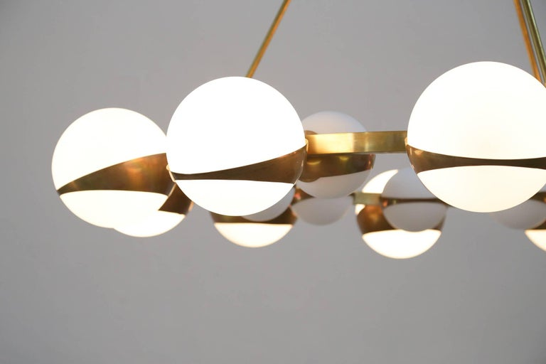 Style of Stilnovo Italian Chandelier Opalines Brass Large Sculptural Modernist For Sale 5