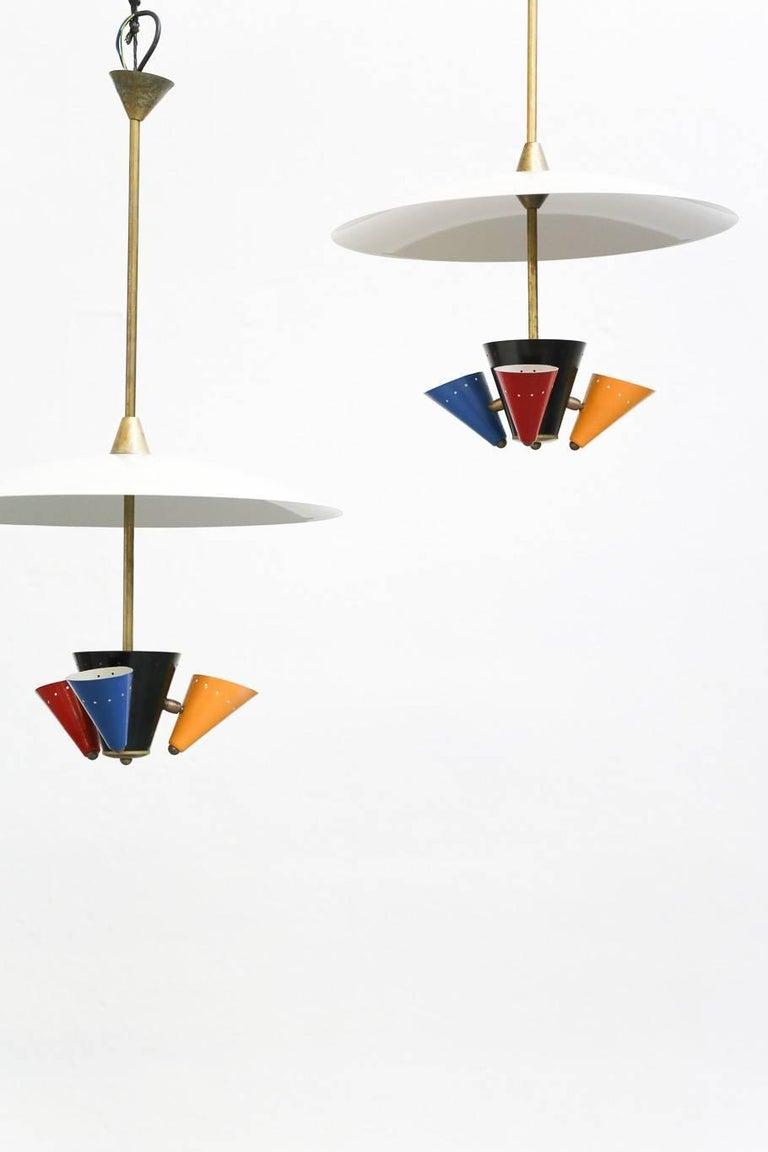 Mid-Century Modern Pendant Lamp in the Style of Gino Sarfatti 1950s Stilnovo For Sale
