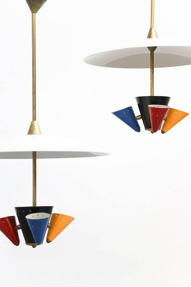 Pendant Lamp in the Style of Gino Sarfatti 1950s Stilnovo In Excellent Condition For Sale In Lyon, FR