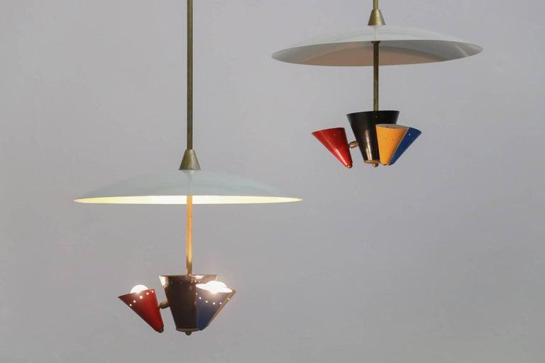 Metal Pendant Lamp in the Style of Gino Sarfatti 1950s Stilnovo For Sale