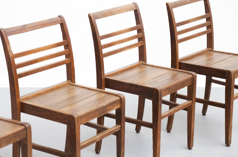 Mid-Century Modern Set of Four Oak Dining Chairs, Rene Gabriel, 1940s For Sale