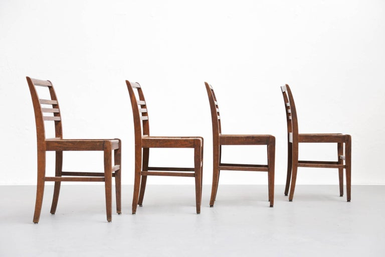 French Set of Four Oak Dining Chairs, Rene Gabriel, 1940s For Sale