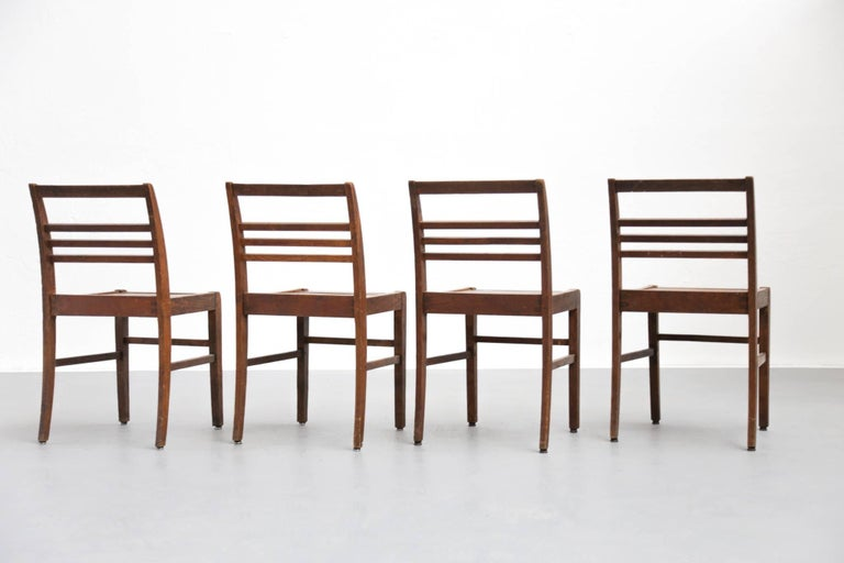 Set of Four Oak Dining Chairs, Rene Gabriel, 1940s In Good Condition For Sale In Lyon, FR