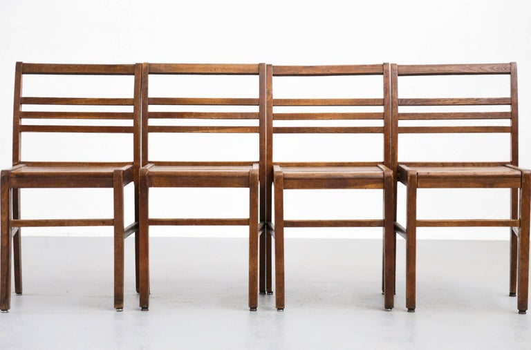 20th Century Set of Four Oak Dining Chairs, Rene Gabriel, 1940s For Sale