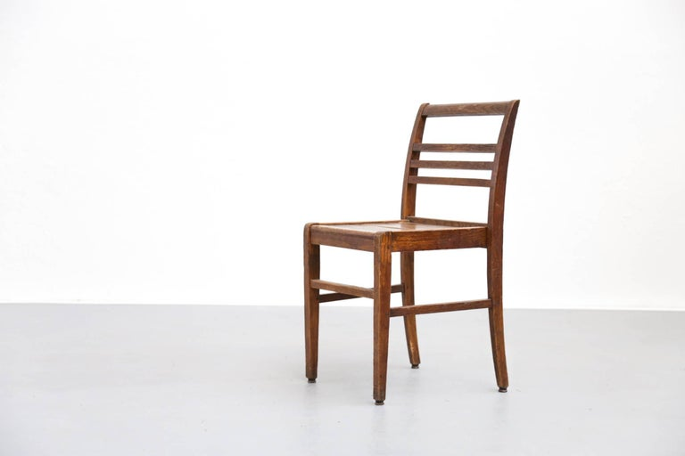 Set of Four Oak Dining Chairs, Rene Gabriel, 1940s For Sale 3