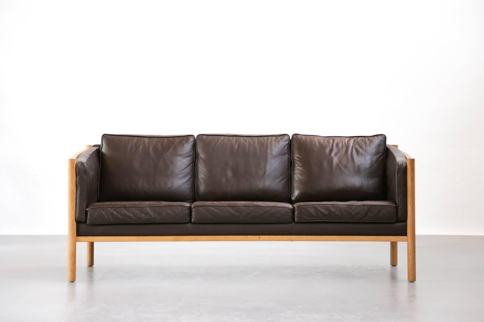 Scandinavian Sofa Made Of Oak Frame And Leather Cushions.