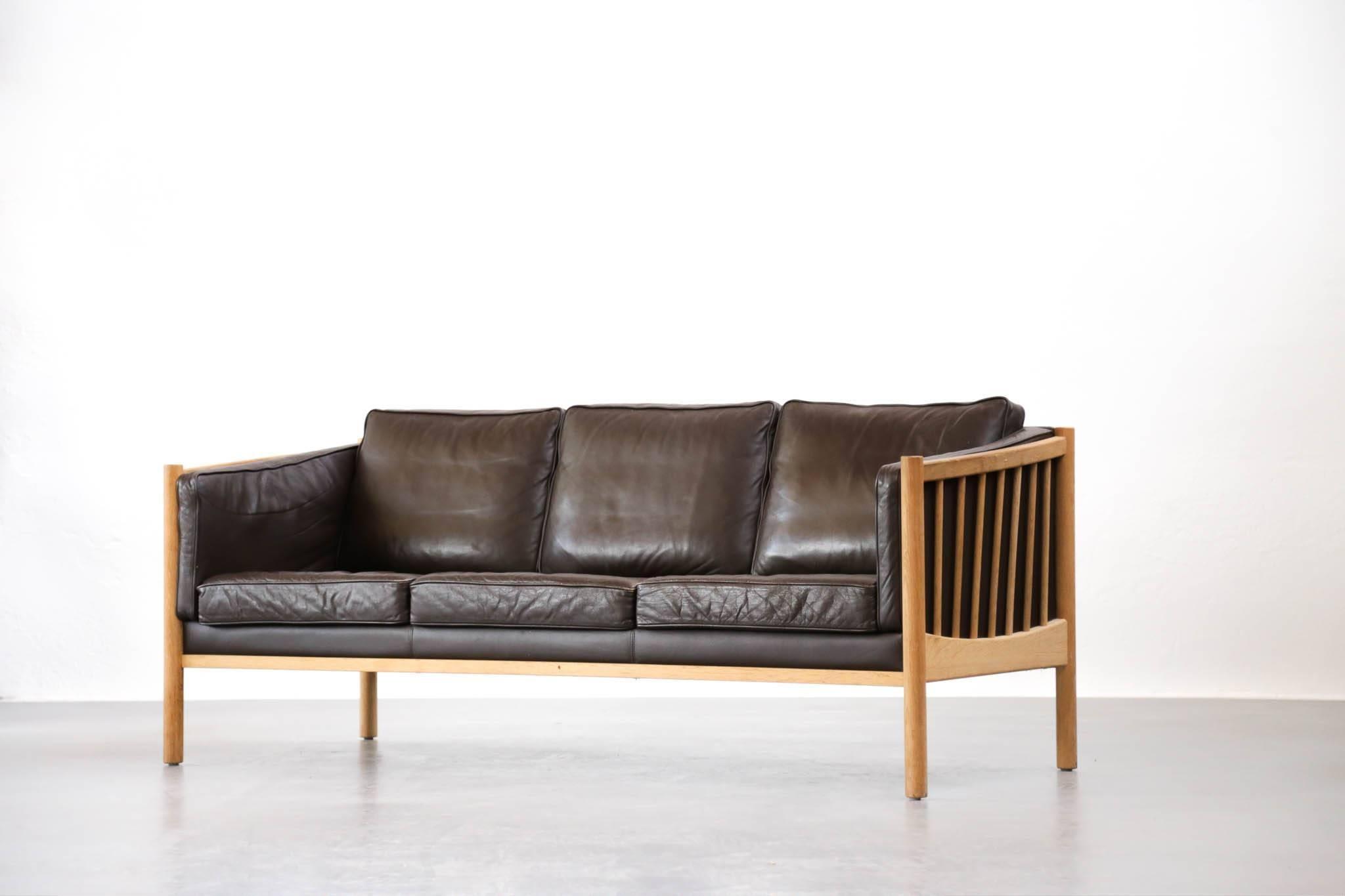 Scandinavian Modern Scandinavian Sofa Brown Leather And Oak, 1970s For Sale