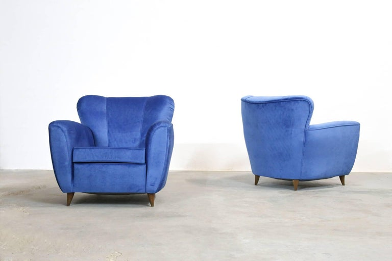 20th Century Pair of Armchairs in the Style of Gio Ponti, 1960s For Sale