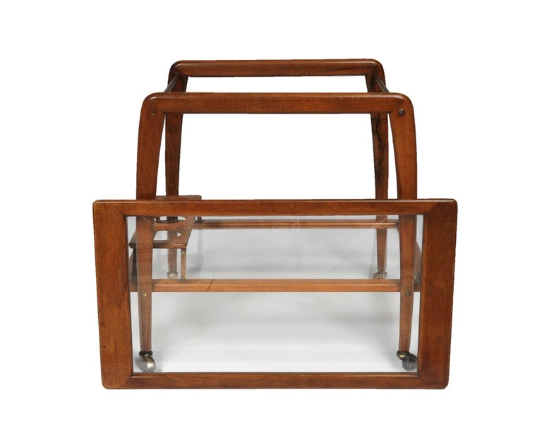 Mid-Century Modern Italian Midcentury Walnut Bar Cart by Ico Parisi For Sale