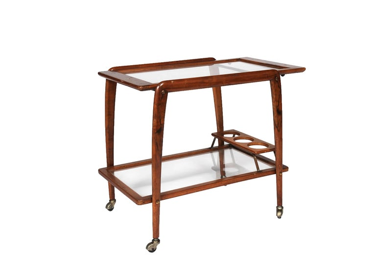 Italian Midcentury Walnut Bar Cart by Ico Parisi In Excellent Condition For Sale In Roma, IT