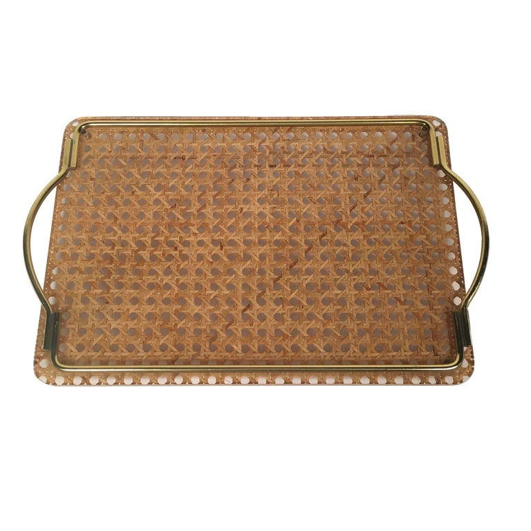 Midcentury Brass, Lucite and Rattan Serving Tray Christian Dior Home Collection