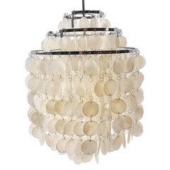 Verner Panton Fun 1 Shell Lamps Chandelier with Frame of Chromed Steel Lighting