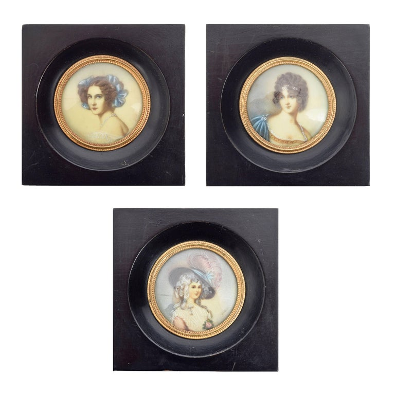 Three Ancient Miniatures Signed of the xix Century, Miniature Paintings, 1900s
