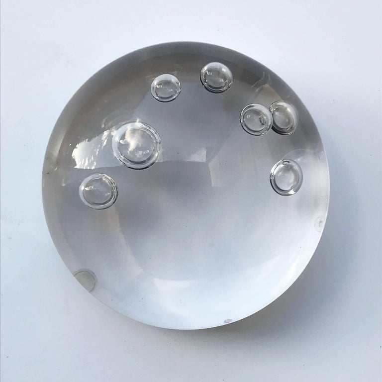 Paperweight Signed Seguso Su with Air Bubbles Murano, Italy For Sale 1