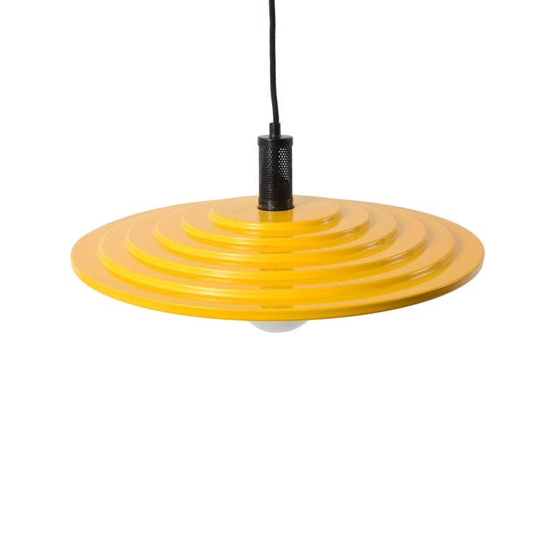 Yellow disc chandelier enamelled metal modern 1970s italian mid century modern yellow disc chandelier enamelled metal modern 1970s italian pendant aloadofball Gallery