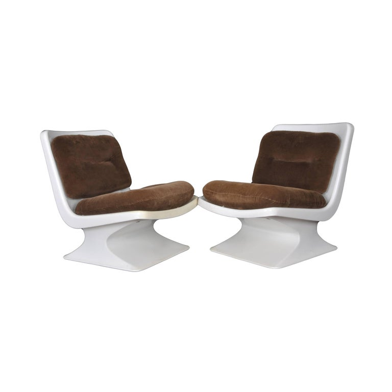 French Design Pair of Lounge Chair by Albert Jacob Grosfillex Space Age, 1970s For Sale