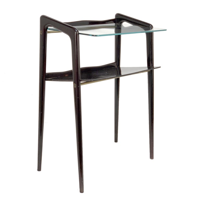 Ico Parisi, Italian Magazine Table, Ebonized Wood, Glass Top, Italy 1940s For Sale
