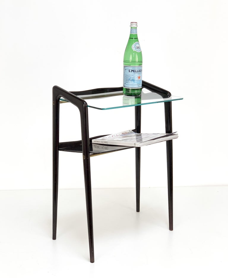 Ico Parisi, Italian Magazine Table, Ebonized Wood, Glass Top, Italy 1940s In Good Condition For Sale In Roma, IT