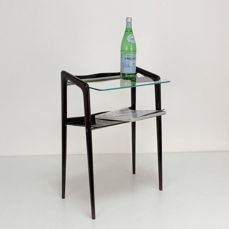Mid-20th Century Ico Parisi, Italian Magazine Table, Ebonized Wood, Glass Top, Italy 1940s For Sale