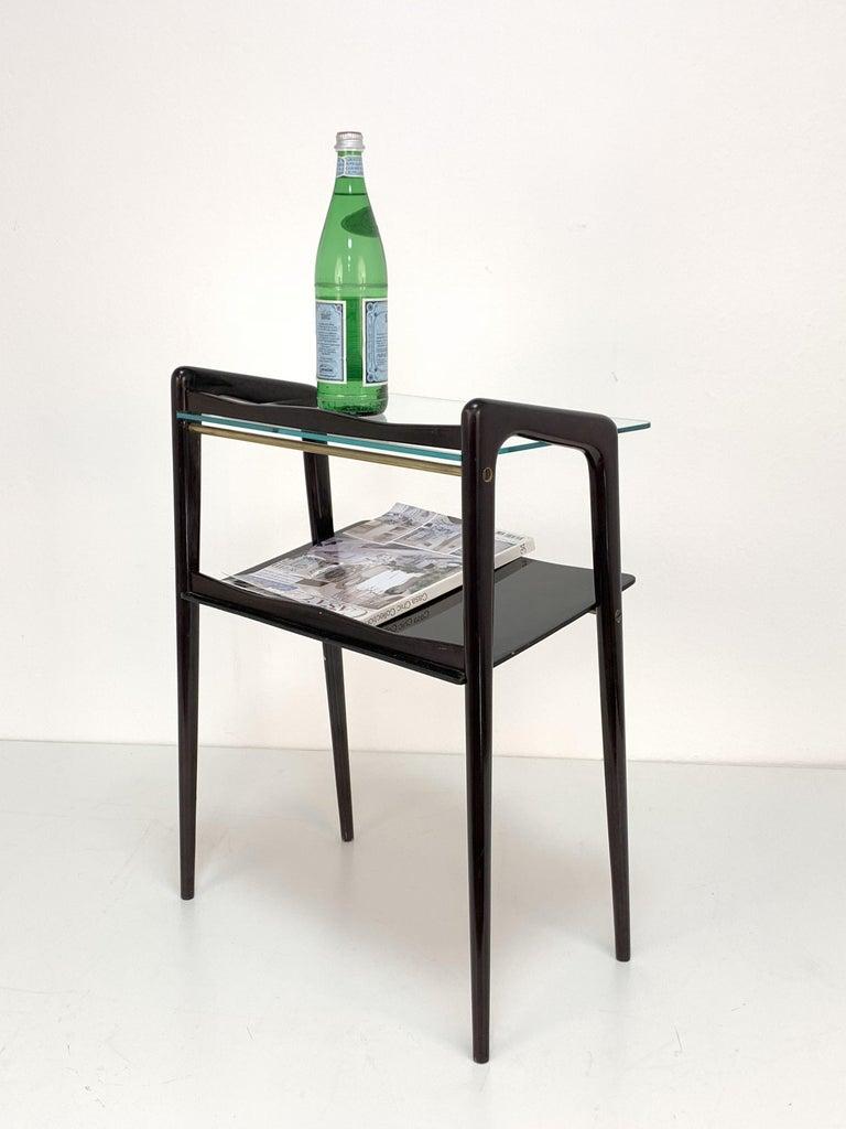 Ico Parisi, Italian Magazine Table, Ebonized Wood, Glass Top, Italy 1940s For Sale 1