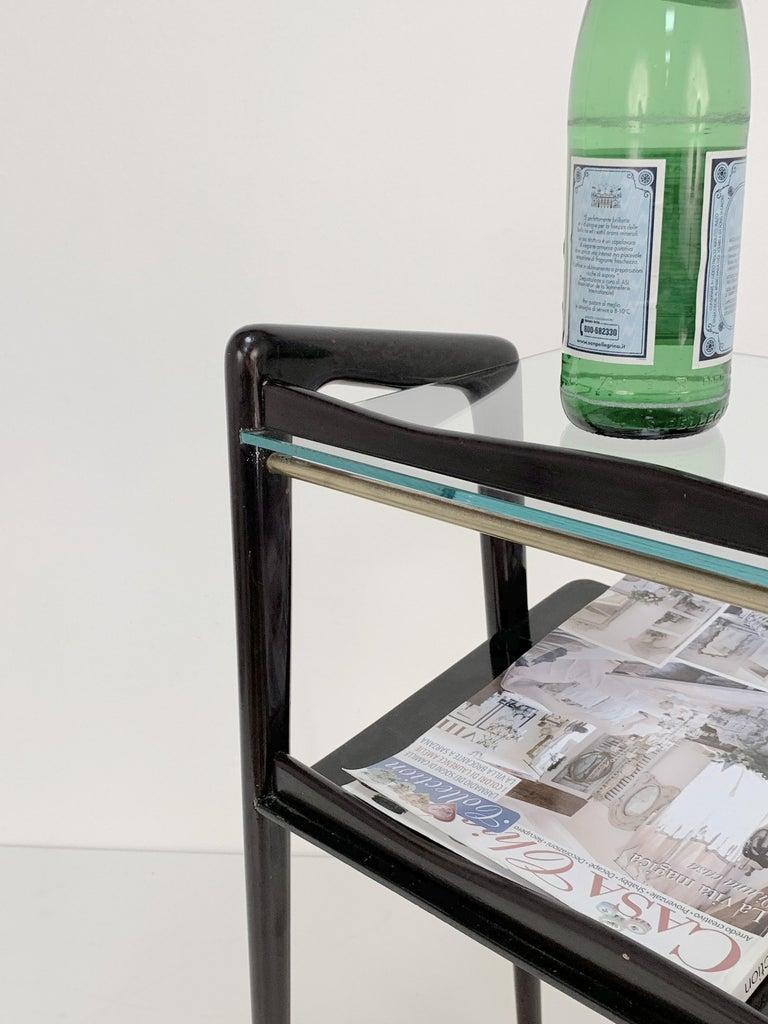 Ico Parisi, Italian Magazine Table, Ebonized Wood, Glass Top, Italy 1940s For Sale 3