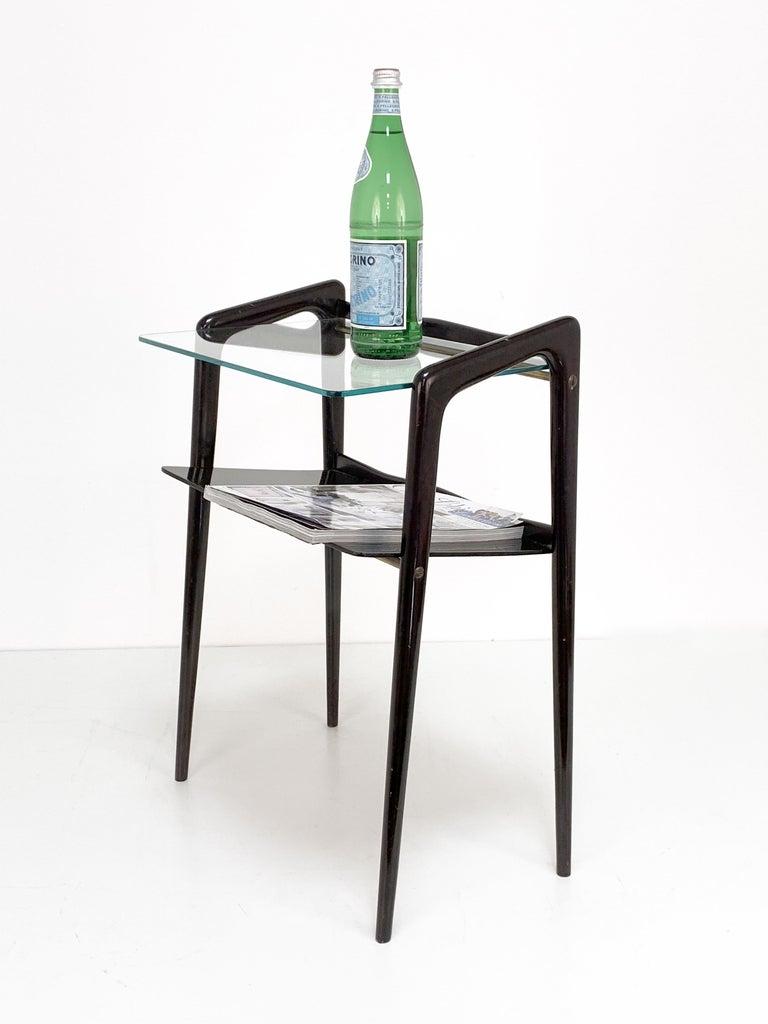 Ico Parisi, Italian Magazine Table, Ebonized Wood, Glass Top, Italy 1940s For Sale 4