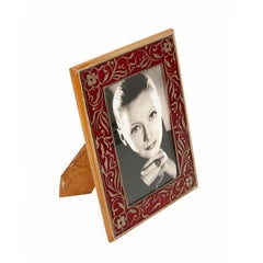 Wooden Frame, Red Glass and Painted Silver, Picture Frame Italy, 1950s