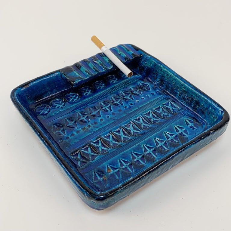 Square Ashtray in Blue Glazed Ceramic Rimini, Bitossi by Aldo Londi, Italy 1960s For Sale 3