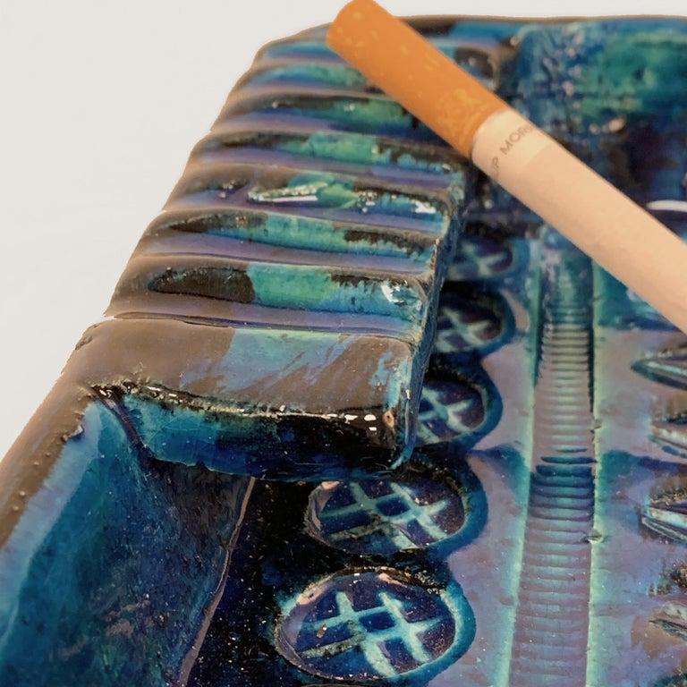 Square Ashtray in Blue Glazed Ceramic Rimini, Bitossi by Aldo Londi, Italy 1960s For Sale 4