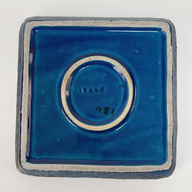 Square Ashtray in Blue Glazed Ceramic Rimini, Bitossi by Aldo Londi, Italy 1960s For Sale 1