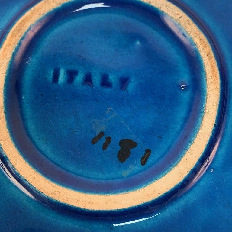 Square Ashtray in Blue Glazed Ceramic Rimini, Bitossi by Aldo Londi, Italy 1960s For Sale 2