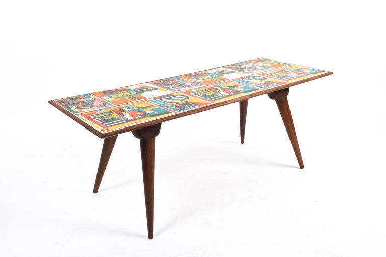 Low coffee table for living room. Printed wood. Attributable to P. De Poli Italy 1950s