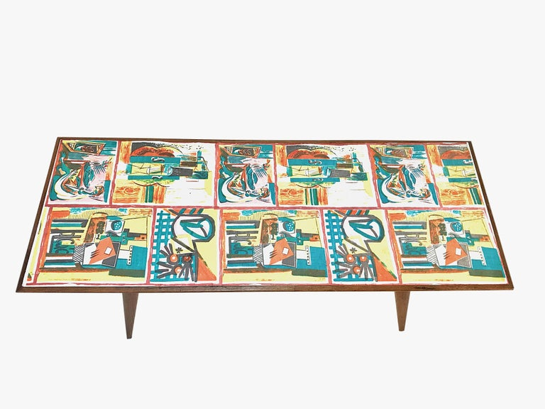 Italian  Low coffee table for living room. Printed wood. Attributable to De Poli Italy  For Sale