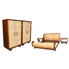 Parchment Bedroom by Guglielmo Ulrich. Produced and Signed Valzania, Italy 1930s