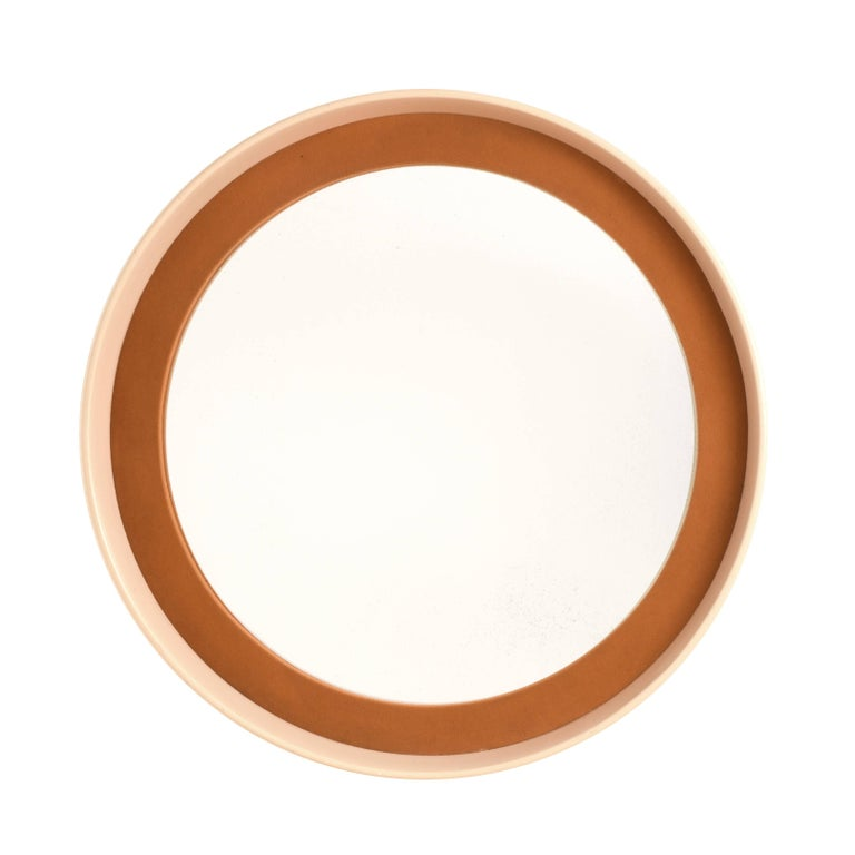 Round Mirror with Frame in Lacquered Wood and Fabric, Italy, 1970s Midcentury