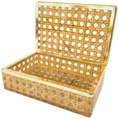 Box in Lucite, Wicker and Brass in Christian Dior Style, 1970