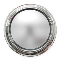 Round Smoked Mirror, Chromed Vintage, Italy, 1960s, Midcentury, Wall Mirror