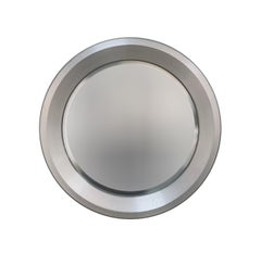 Round Beveled Mirror, Aluminum Frame, 1960s Midcentury, Italy, Artemide Style