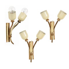 Three Applique in Brass and Italian Stilnovo Style Enamel, Two Lights, Italy