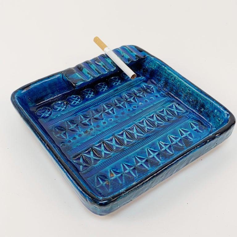 Pottery Square Ashtray in Blue Glazed Ceramic Rimini, Bitossi by Aldo Londi, Italy 1960s For Sale