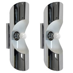 Pair of Chrome Steel Appliques Wall Lamps, 1970s