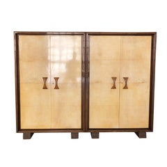 Valzania Signed Wardrobe Covered in Parchment Attributable Ulrich, Italy, 1930s