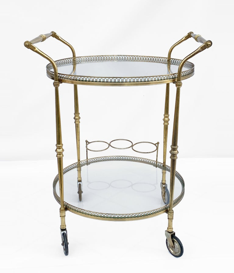 French Round Bar Trolley of Maison Baguès, Bar Cart with Bottle Holder, France, 1950s For Sale