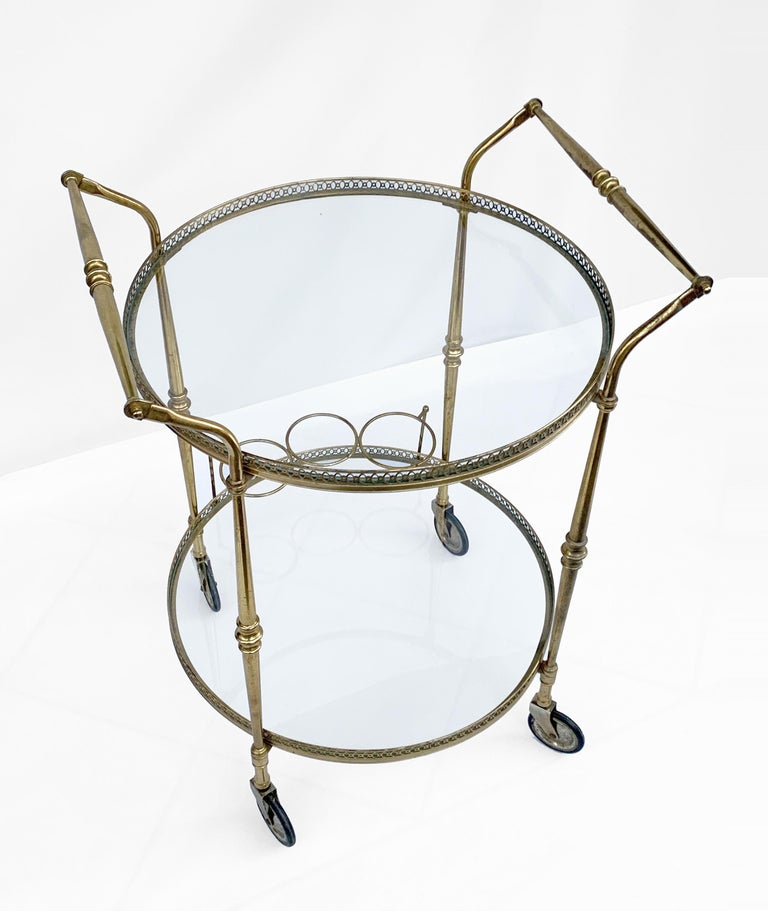 Round Bar Trolley of Maison Baguès, Bar Cart with Bottle Holder, France, 1950s In Fair Condition For Sale In Roma, IT